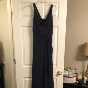 Floor length navy dress